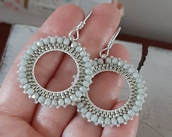Large hoop earrrings/Green Statement Earrings/Beaded Boho Earrings/Disc Silver Earrings/Silver Hoops/Special occasion/Gift jewellery