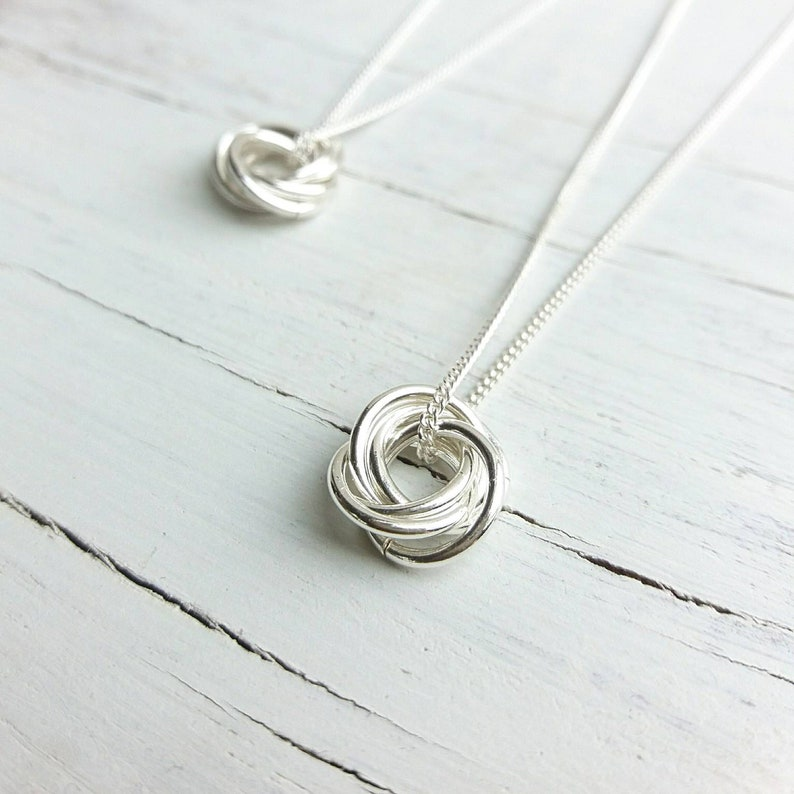 Sterling Silver Nest of rings necklace/Five rings image 1