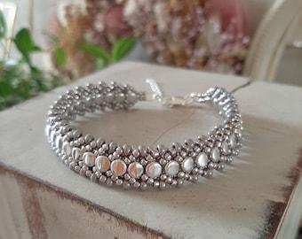 Silver Beaded statement bracelet/handwoven bracelet/handmade bracelet/Silver bracelet/Birthday jewelry/Beadaddict