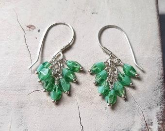 Sterling silver Cluster Earrings/Beaded earrings/Green Earrings/Bead Grapewine Earrings/Small dangly earrings/Birthday jewellery