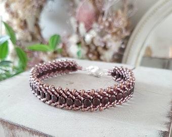 Deep Burgundy Beaded statement bracelet/handwoven bracelet/handmade bracelet/Silver bracelet/Birthday jewelry/40th Birthday/50th Birthday