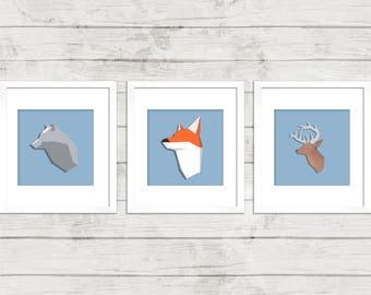 Woodland animals, Wall Print Art, Wolf, Deer, Fox, Forest, Nursery, Children art, minimalist, Animal Nursery Wall Art, Kids Art