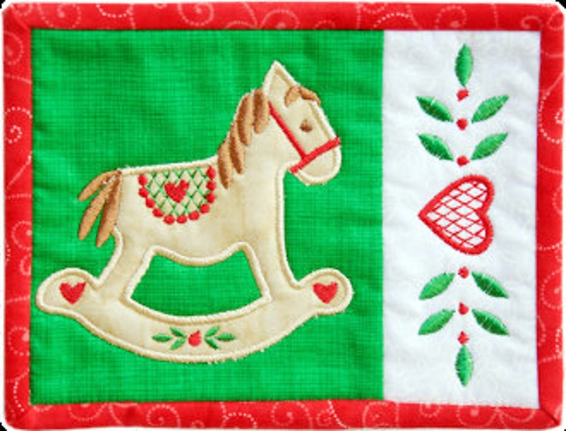 Old World Christmas Mug Rugs ITH machine embroidery design on CD by Amelie Scott Designs
