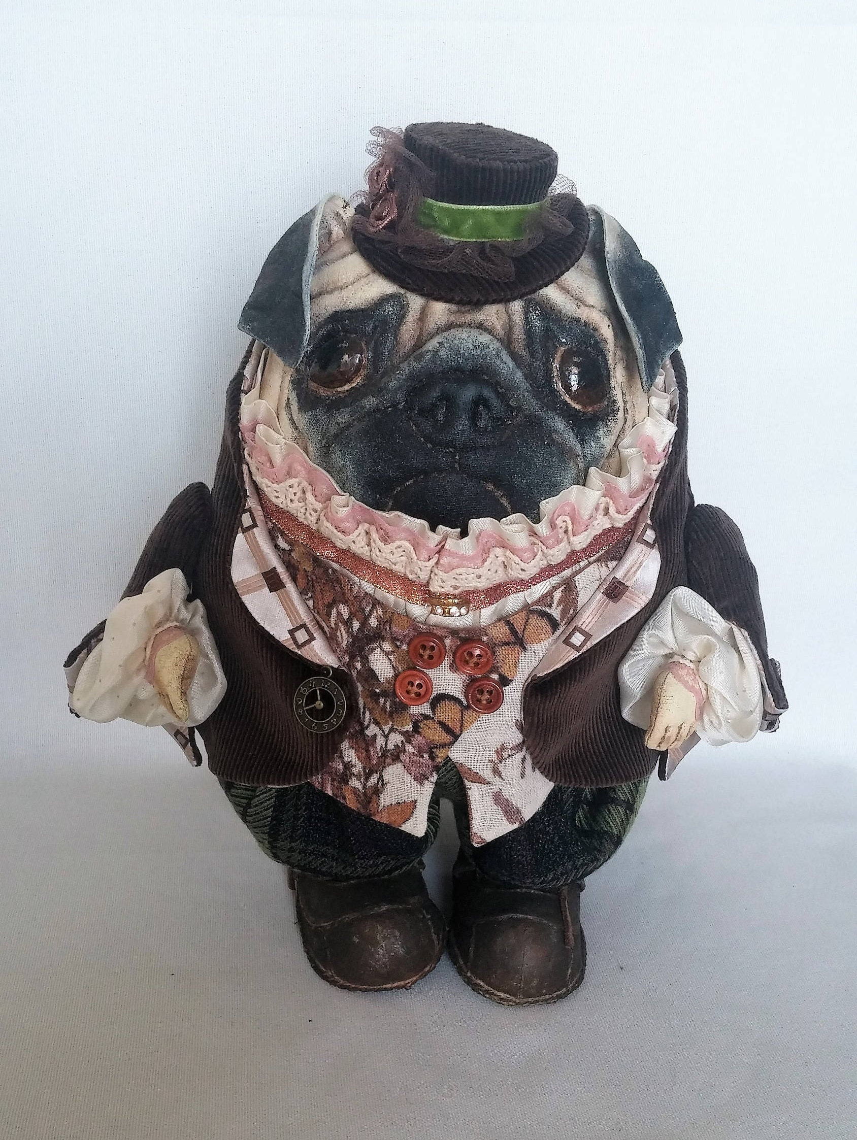 Pug Dog Textile Doll Vintage Textiles Stuffed Animal Patterns Etsy