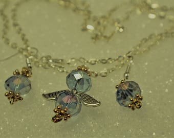 Angel Necklace with Faceted Earrings