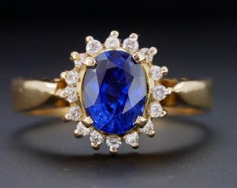 2.45Ct Natural Blue Tanzanite /& IGI Certified Diamond Ring In 18KT White Gold