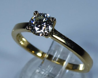 GIA Certified 18k Yellow Gold 0.45ct Diamond Solitaire Engagement Ring