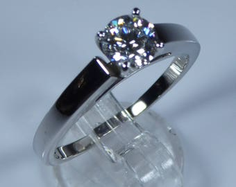 IGI Certified 14k White Gold 0.70ct Diamond Solitaire Engagement Ring