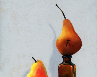 Pear Duo 8x10 still life pastel painting