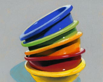 Stacked Bowls 6x6 still life pastel painting