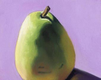 Green Pear 5x5 still life pastel painting