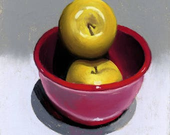 Yellow Apples in a Red Bowl 6x6 pastel painting