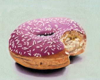 Doughnut 5x7 still life pastel painting