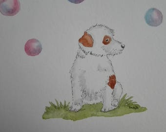 little dog with soap bubbles, original watercolor painting