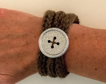 Brown Knit Cord Bracelet