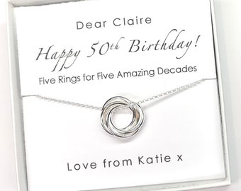 Special 50th Birthday necklace featuring 50 sterling silver links on delicate trace chain