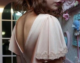 vintage dress, wedding dress, evening dress, swarovski dress, 1930s, nude color, handmade dress