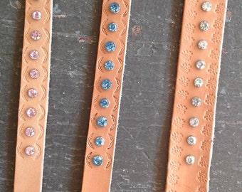 Leather rhinestone bracelets
