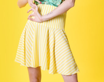 Yellow and white striped skirt
