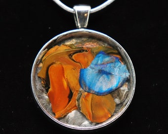 Orange and blue flowers Original One of a Kind  Painted Pendant--- Orange and blue flowers