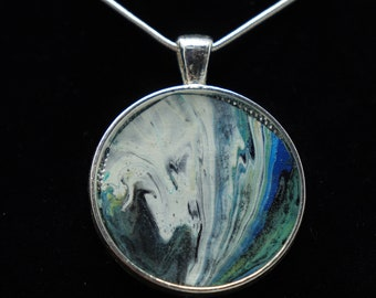 White Wave with blues and  greens---Original One of a Kind  Painted Pendant--- White Wave with blues and  greens