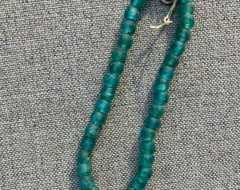 Deep Teal Recycled African Glass Beads