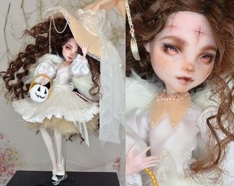 Halloween Special Edition 2021 Witch in White Monster High Draculaura doll Ever after high ooak repaint custom pumpkin angel lolita dress