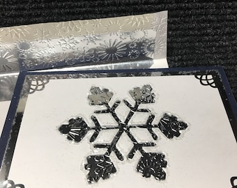 Snowflake Christmas Card - Embossed Foil With Glitter