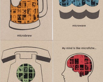Set of Four Microfiche Greeting Cards