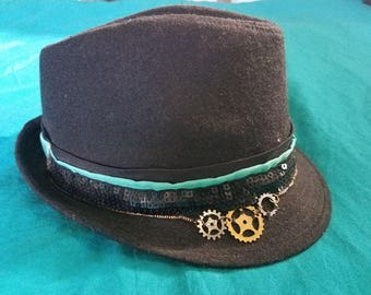 Black Steampunk Fedora with Black Sequence Band 646eb102a1f