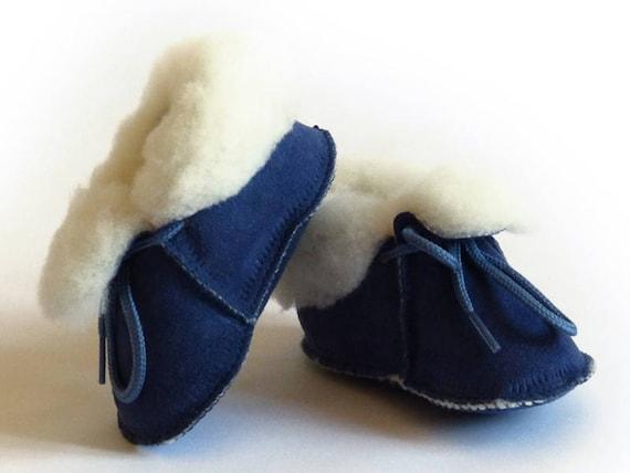 chaussons fourrés bébé camel peau de mouton retournée tannage naturel