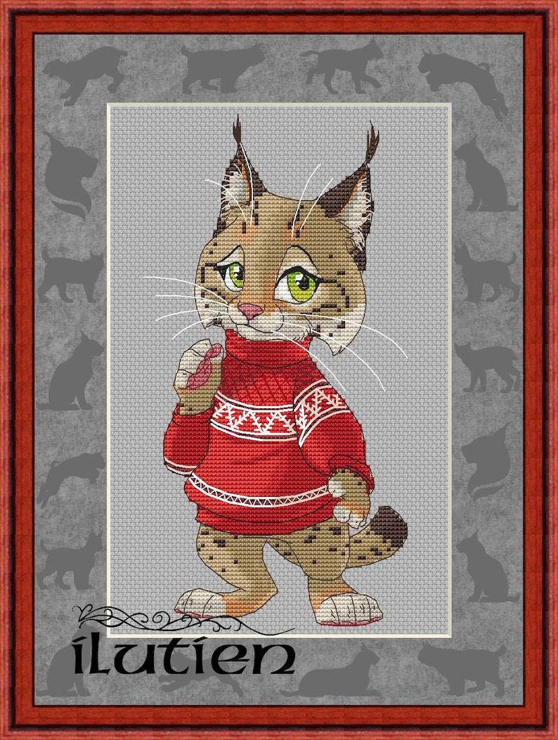 e161b7b9b38751 Lynx in sweater cross stitch pattern sweatshirt jumper