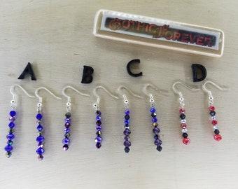 Handmade Goth Dangle Drop Earrings Crystal Jewelry Black Clear Red Blue Dark Blue Purple Rainbow