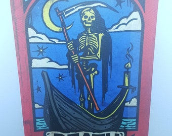 XIII Death Tarot Card Inspired Scroll Wall Hanging Tapestry Print Banner with Wood Rod Pole Home Wall Decor Decoration Goth
