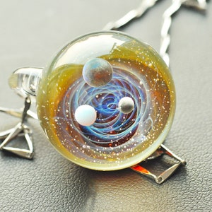 Twisted Space Glass Pendant Handmade Glass Universe Pendant 23mm,Unique Birthday Gift\uff0c blue Galaxy Pendant Necklace