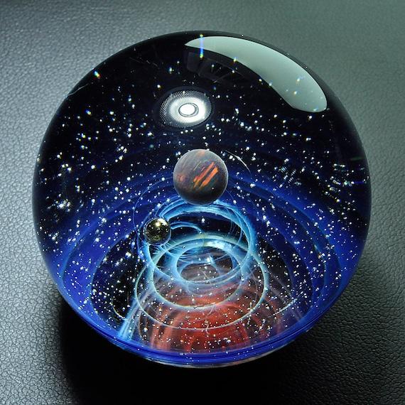 Unique cadeau nuit ciel galaxie marbre univers Pellet boule espace soufflé  en verre 4.5 cm, verre dôme planète étoiles Twisted espace verre marbre