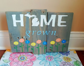 Michigan Home Decor Personalized State Pallet Sign Pure