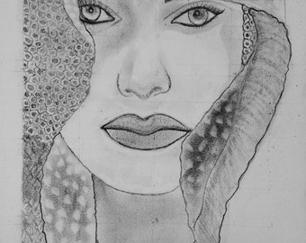 classy R us Handmade Black And White Sketch Of Lady In Shadow Original Artwork