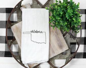 Oklahoma State Gift Oklahoma Kitchen Towel Custom State Decor Oklahoma Home Decor