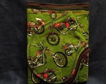 Motorbike MotorCycle Flannel XL Double Layer Receiving Blanket Burp Cloth 3 piece Baby Boy GIft Set