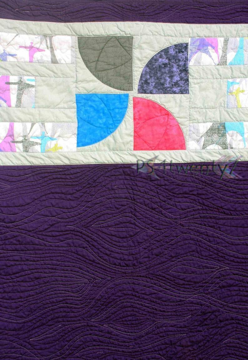 SALE Handmade Purple Quilt Baby Girl Quilt-Playmat Modern Baby Quilt Purple  37x40 Curvy Pinwheels II-inspired by 13 Spools