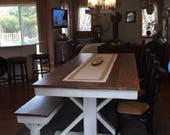 Custom Made Rustic Trestle X Farmhouse Table