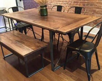 Custom Made Rustic Industrial Dining Table