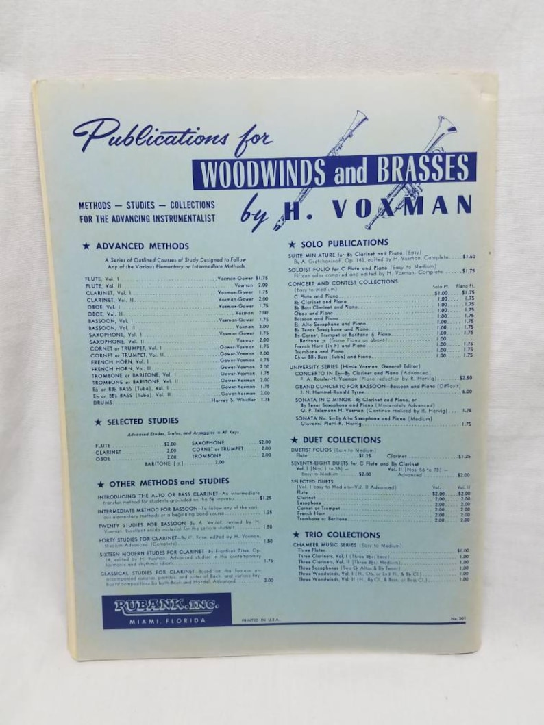 Clarinet Sheet Music Rubank Advanced Method Volume I Paperback Vintage 1939  Sheet Music for Instrument Clarinet