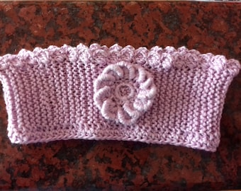 "Hand Knit Headband in Purple Ages Baby To Child Approximately 13"" handicrafts"