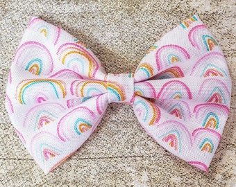 Cotton Pinch Bow 4\u201d Rainbow Cotton Bow Clip Rainbow Pinch Bow