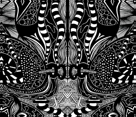 Black White Trippy Abstract Psychedelic T Shirt Designs Artist All Over Art Print Shirt Designer Gear Art Kaleb Collection
