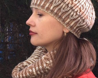 Warm winter hat, knitting by hand from yarn dyeing sectioned pattern in the style of brioche
