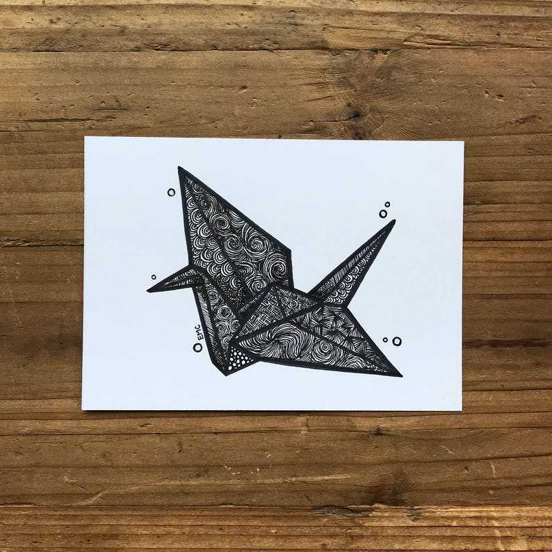 Origami Paper Crane Drawing Origami Wall Art Japanese Etsy