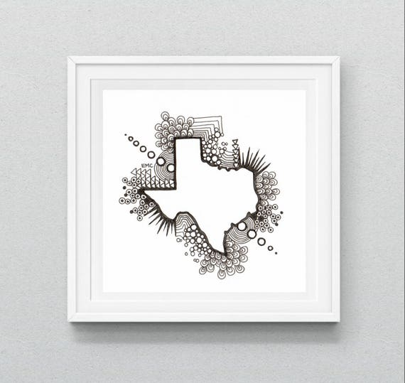 image regarding Texas Printable named Texas Map Printable, Texas Map Drawing, Texas Wall Artwork, Nation Map Print, Texas Map, Retro Zen Tangle, ANY Region Offered, Electronic Down load